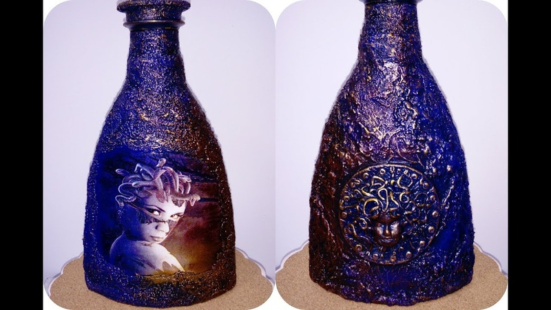 Декор бутылки ,, Медуза Горгона
