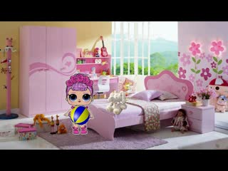 Cartoon lol doll plays with toys, walks on the playground, having fun in an amusement park