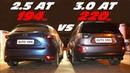 Вот это поворот! Mazda CX-5 2.5 vs Mitsubishi Outlander XL 3.0 ГОНКА