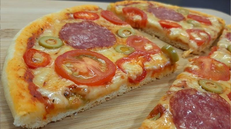 Пицца с колбасой салями сыром помидорами XƏMİR MAYALAMADAN TAVADA SUPER LƏZZƏTLİ PİZZA RESEPTİ