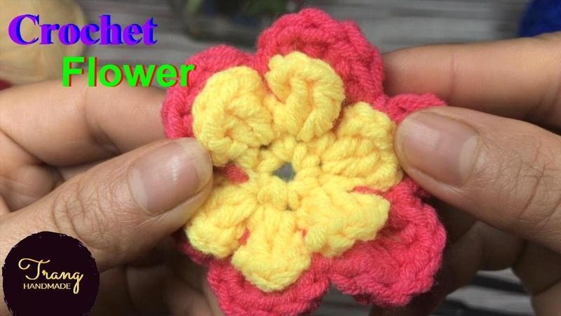 Cách Móc Hoa Len 6 Cánh 2 Lớp Trang Trí Đẹp Và Đơn Giản - Trang Handmade