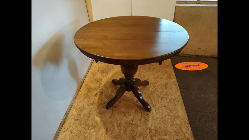 Раздвижной круглый стол из дуба