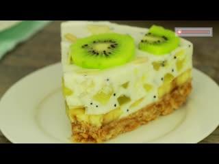 Восторг и море положительных эмоций - торт без выпечки, для любителей бананов и киви!