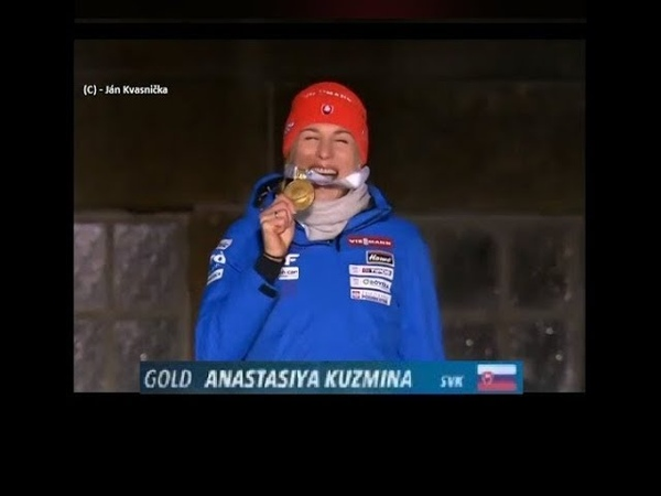 Anastasiya Kuzmina Slovakia Gold Medal Ceremony World champion Biathlon 2019 ÖSTERSUND
