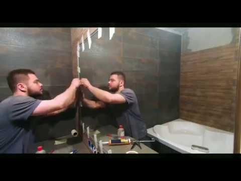 НЕСТАНДАРТНОЕ РЕШЕНИЕ 2018 Монтаж встроенного в плитку зеркало с подсветкой в Ванной комнате