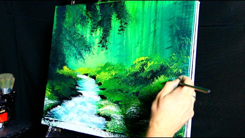 TURBULENT STREAM SIMPLE ACRYLIC PAINTING LANDSCAPE DRANITSIN