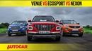 Hyundai Venue vs EcoSport vs Nexon Petrol Automatic Comparison Test Review Autocar India