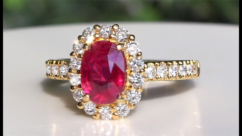 GC Certified 3.25 Carat Natural Unheated Neon Red Ruby Diamond Estate Ring Solid 14k Yellow Gold