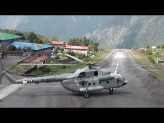 Indian Air Force Mi-8MTV-5 take-off from Lukla Airport in Nepal