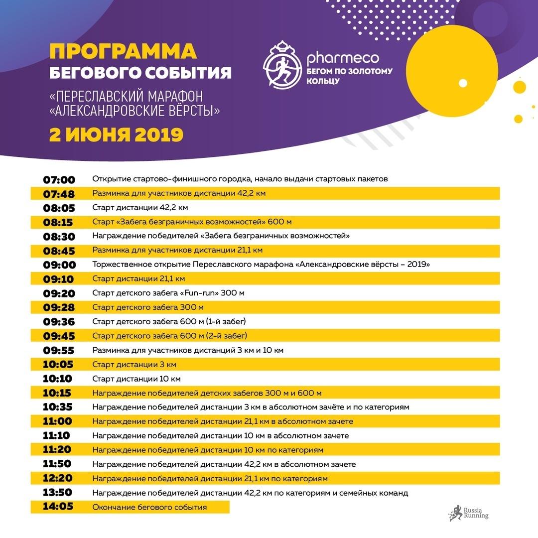 Программа соревнования Переславского марафона 2019, 2 июня