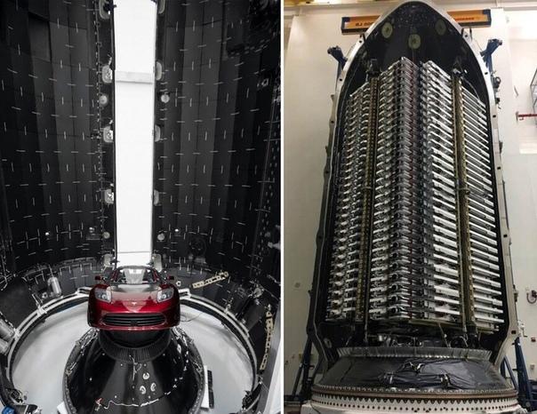 Илон Маск поделился фотографией огромного обтекателя Falcon, в котором находятся 60 спутников для Starlin  проекта для раздачи бесплатного высокоскоростного интернета по всему миру