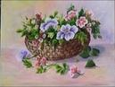 Como pintar una cesta de mimbre con flores