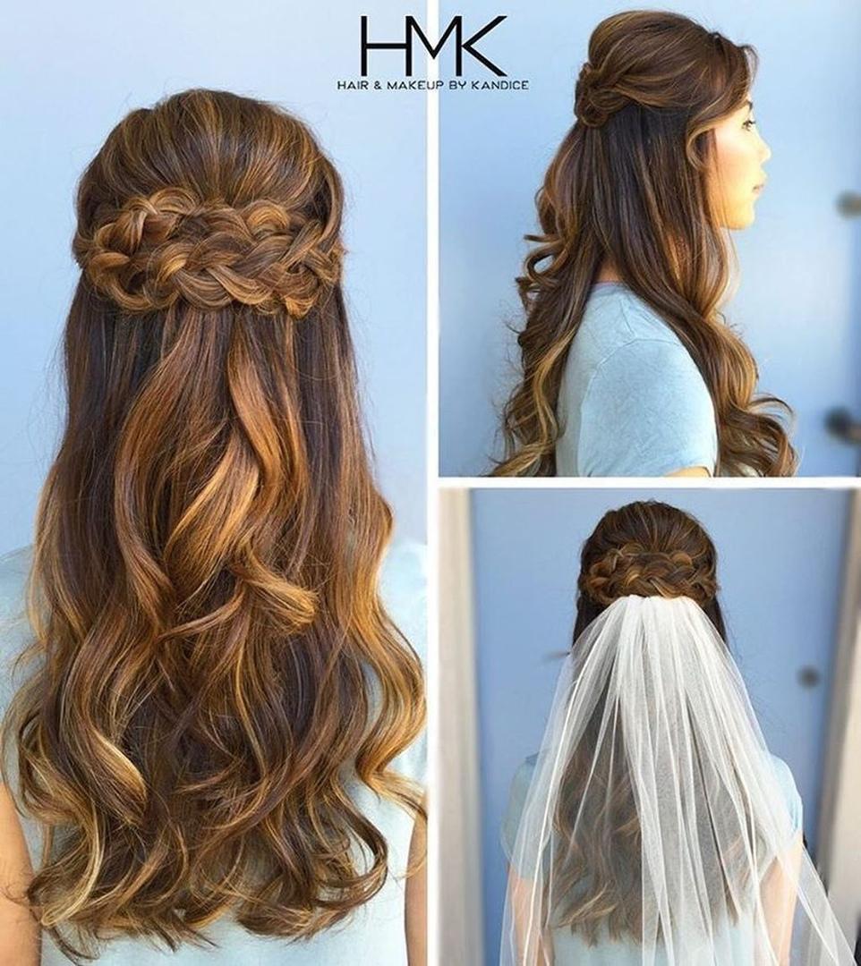 Свадебные прически 2019-2020 на средние и длинные распущенные волосы: фото, идеи, с фатой и без