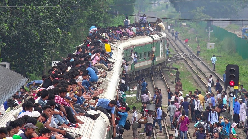 Overcrowded Train- Silk City Express of Bangladesh Railway