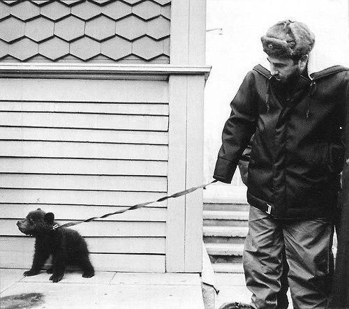 Фидель Кастро с медвежонком, подаренным ему во время визита в СССР русскими геологами