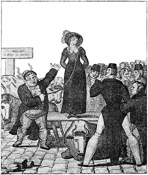 ТОРГОВЛЯ ЖЁНАМИ В АНГЛИИ О святости торговой сделки, святости брака и добрых старых традициях АнглииВ пятницу мясник выставил свою жену на продажу на рынке Смитфилда, недалеко от гостиницы