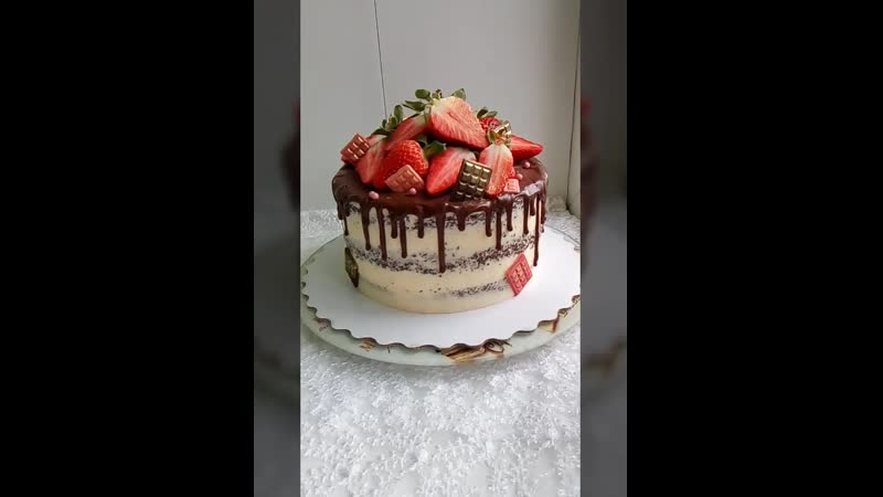 Торт Клубничка в Чёрном лесу 😋😍🎂🍒🍫🍓🎁
