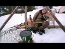 5 DAYS BUSHCRAFT OVERNIGHT - CANVAS TENT, MAKING BOW, BREAD, RUSSIAN ПЕЧЬ COOKING [Full documentary]