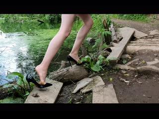 Christian louboutin in swamp, high heels louboutin in deep mud, abused louboutin (scene 226)