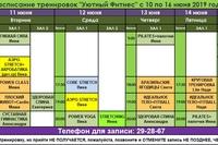 Расписание тренировок на следующую неделю 10 по 16 июня