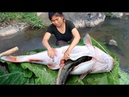 Primitive Technology - Cooking Big Cat fish by Girl At river - grilled fish Eating delicious 32