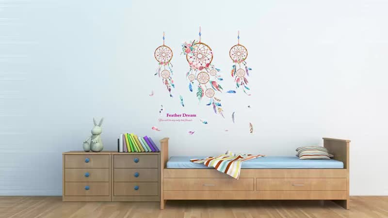 Dreamcatcher Feathers Wall Sticker PVC Material DIY Cartoon Mural Decals for Kids Room Baby BedroomDecoration