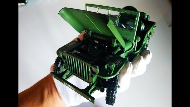 Военный джип Виллис / Willys моделька масштаб 1:18 распаковка и обзор машинки..
