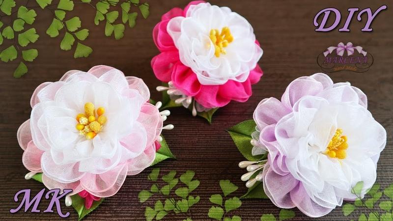 🌺 Цветы из органзы. Резиночки для волос. МК/DIY