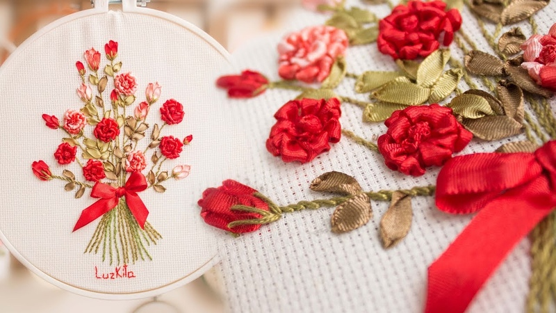 Bordado a mano: Ramo de Rosas/ Hand embroidered bouquet of roses