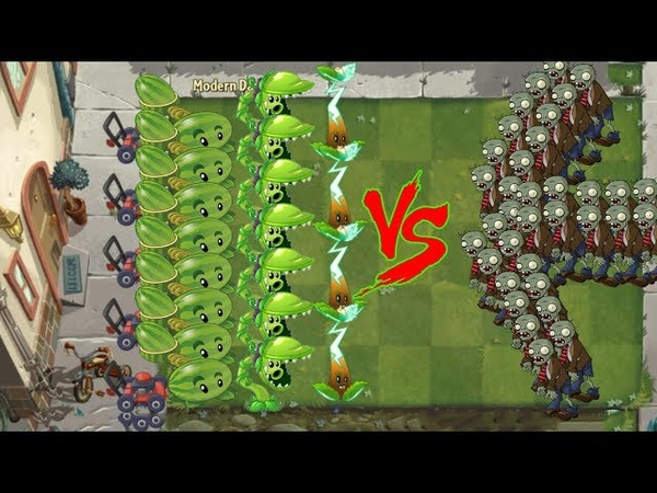 Pvz 2 - Electric Tea, Snap Pea vs Melon Pult vs All Zombies
