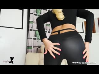 Blonde milf Lucy Zara gets naked for joi and dildo fucking.