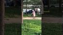 Бабка мажет фикалиями качели