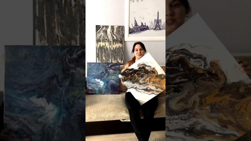 Отзыв ученицы Марии с курса по жидкому акрилу Fluid Art 2.0 от Арт Лаб Онлайн школы