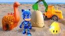 Для самых маленьких. Мультики для малышей песочница, экскаватор и динозаврик. Прячем яйца в песке