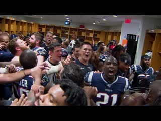 Inside the locker room: patriots celebrate win over dolphins