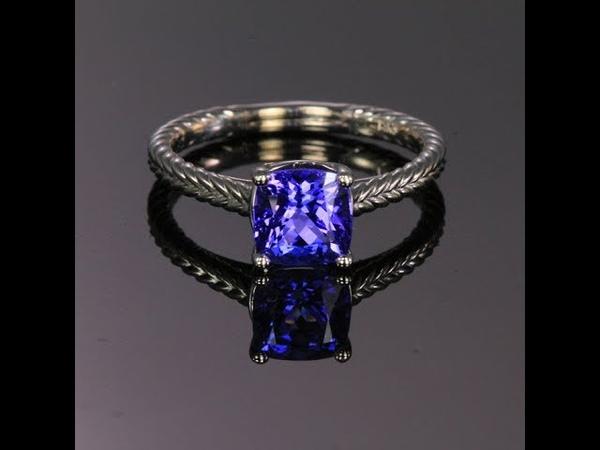 14K White Gold Square Cushion Tanzanite Ring 1.71 Carats