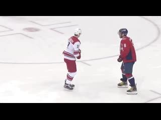 Svechnikov and Ovechkin shared a few slashes