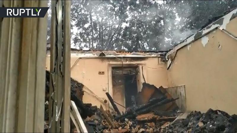 Видео с места пожара в психиатрической больнице Одессы, где погибли шесть человек