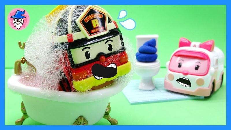 ROBOCAR POLI car wash, car shower tool, toy car bath. car toys video.