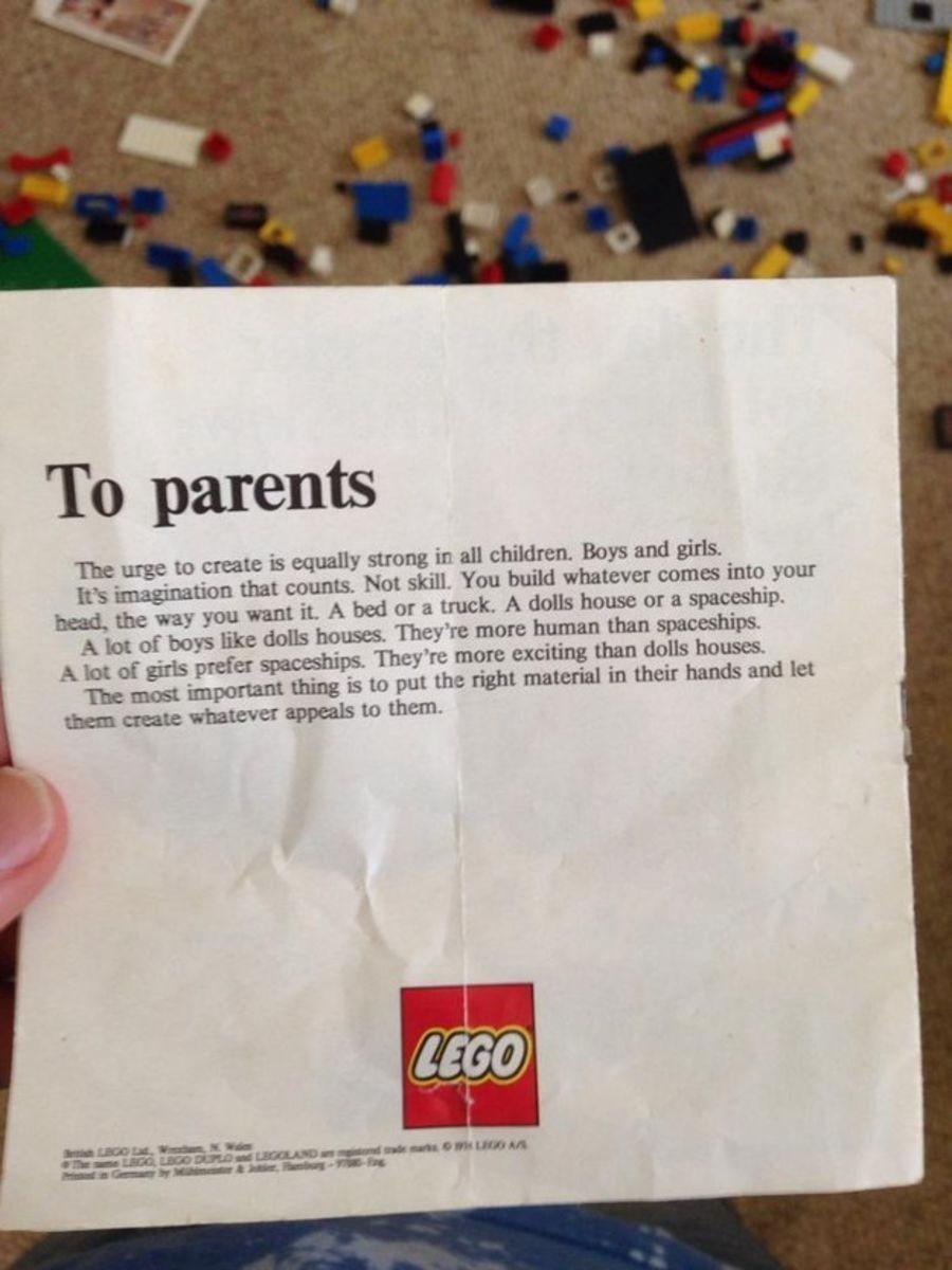 Обращение к родителям от Lego 1970г