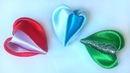 Новый лепесток канзаши Сердце из атласных лент мастер класс New kanzashi petal Heart satin ribbons