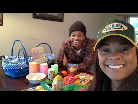 Super Chat y'all with our son Dion making Easter baskets