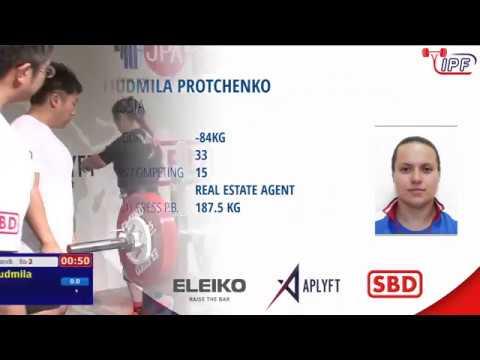Protchenko Lyudmila bench press 201,5kg@84kg. NEW WORLD RECORD. WC 2019 Tokyo