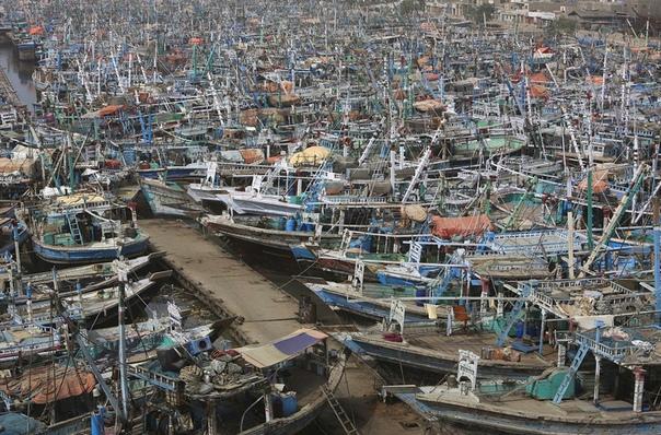 Пришвартованные рыбацкие лодки в гавани Карачи после предупреждения властей о приближении циклона Вайю (Пакистан