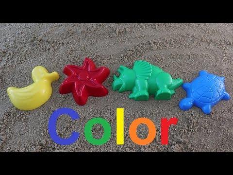 Learn Colors for Children colored sand molds marine inhabitantsучим цвета играем с малышами