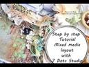 МК страничка Пряная зелень  Step by step Tutorial Mixed Media Layout by Ragozina Olga