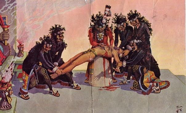 Ритуальные жертвоприношения Человеческие жертвоприношения ацтеков ярко были показаны в фильме Мэла Гибсона «Апокалипсис». И это была не выдумка, ритуальные убийства действительно играли