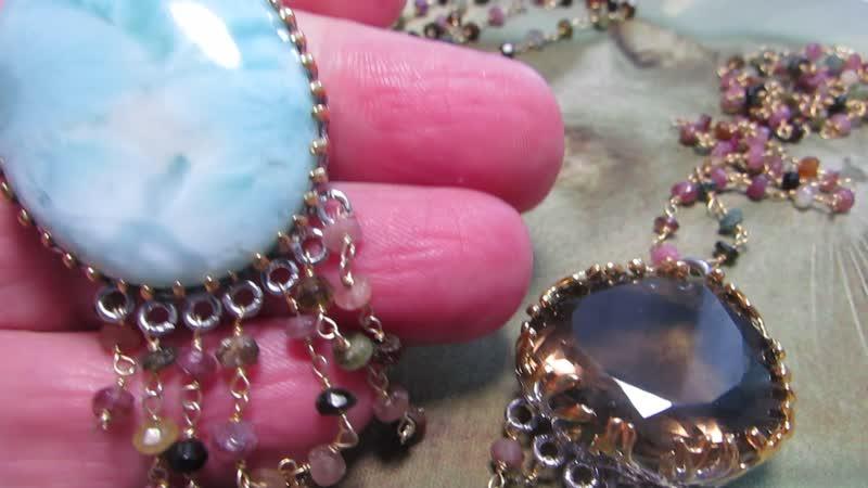 Ожерелья с крупными ларимаром дымчатым кварцем с турмалинами