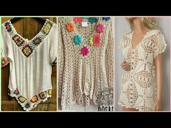 Gorgeous stylish crochet top shirts design for womens