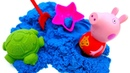 Peppa Pig and kinetic sand: Learn colors for kids